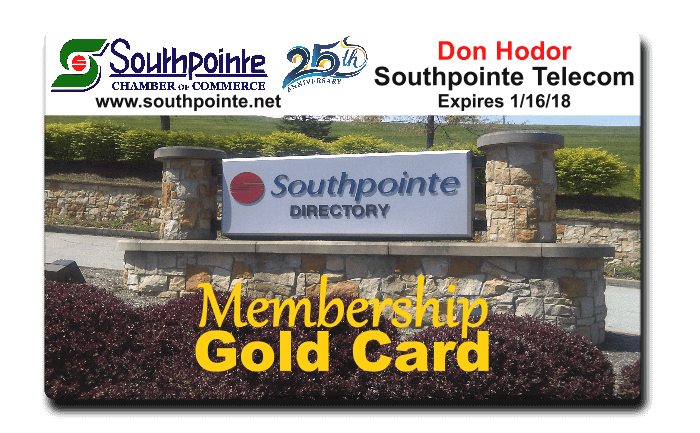 Southpointe Chamber Membership Gold Card